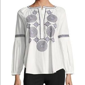 Tory Burch Aubrey Embroidered Poplin Tunic 12 NWT